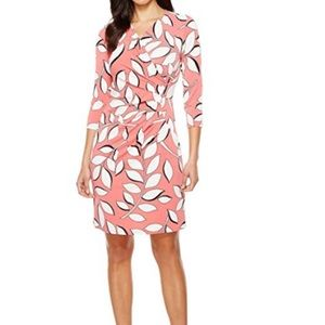 ADRIANNA PAPELL  Floral Print Faux Wrap Dress